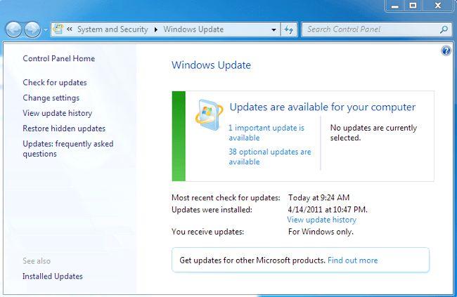 як відключити автоматичне оновлення windows 7