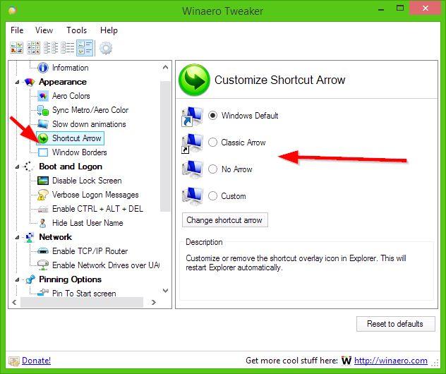 як прибрати стрілки з ярликів в windows 7