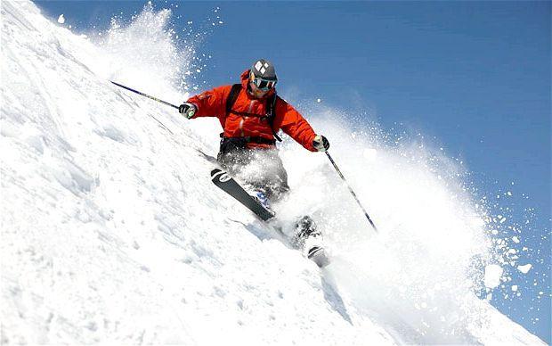 катання на гірських лижах