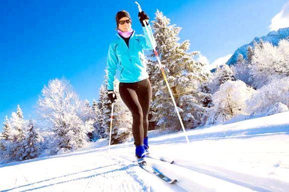 урок катання на гірських лижах