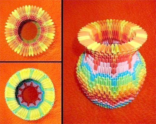 орігамі з трикутних модулів ваза