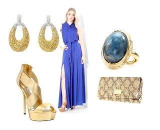 з чим носити вечірнє плаття синього кольору