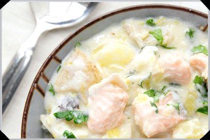 Вершковий суп з лососем рецепт